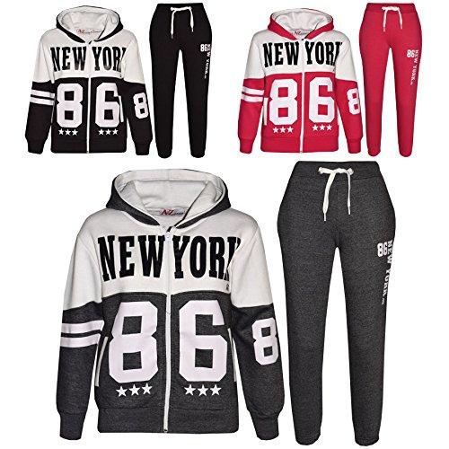 Kids Tracksuit Boys Girls Designers New York 86 Print Jogging Suit 7-13 Years