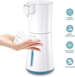 CQURE 450ml/15.2oz Automatic Soap Dispenser,Automatic Foaming Hand Free Soap Dispenser Touchless, Battery Operated Foam Liquid Soap Dispenser for Bathroom Kitchen