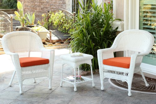 Jeco W00206_2-CES016 3 Piece Wicker End Table Set with with Orange Chair Cushion, White ()