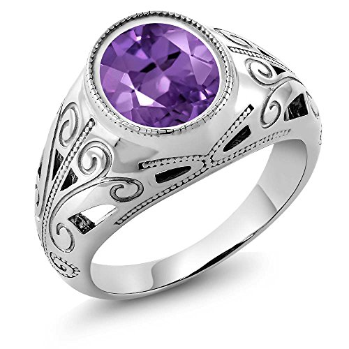 Gem Stone King 925 Sterling Silver Oval Amethyst Men's Ring 4.60 Ct (Size 11)