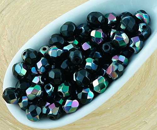 100pcs Opaque Jet Black Metallic Apricot Medium Dichroic Vitrail Luster Half Round Faceted Fire Polished Small Spacer Czech Glass Beads 4mm