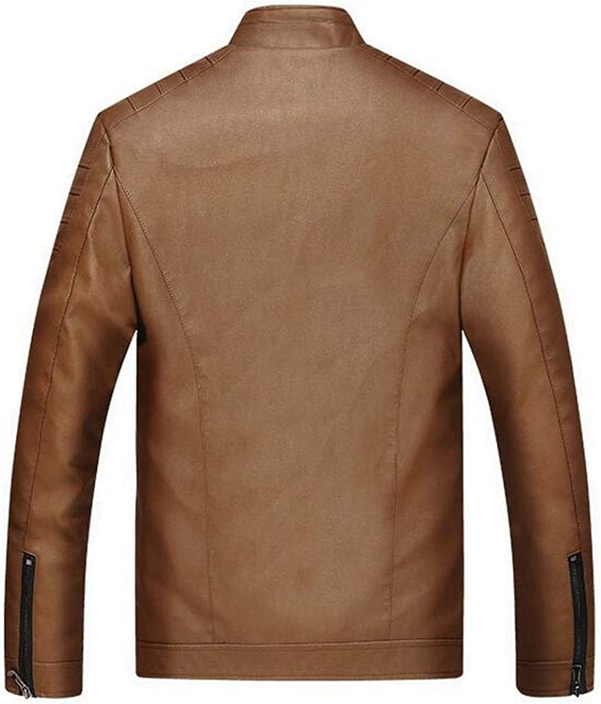 FSSE Mens Full-Zip Faux Fur Lined Thicken Pu Leather Stand Collar Moto Jacket Coat