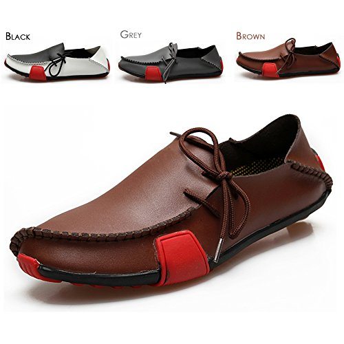 Ceyue Men's Casual Leather Loafers Breathable Driving Shoes-brown-13-47