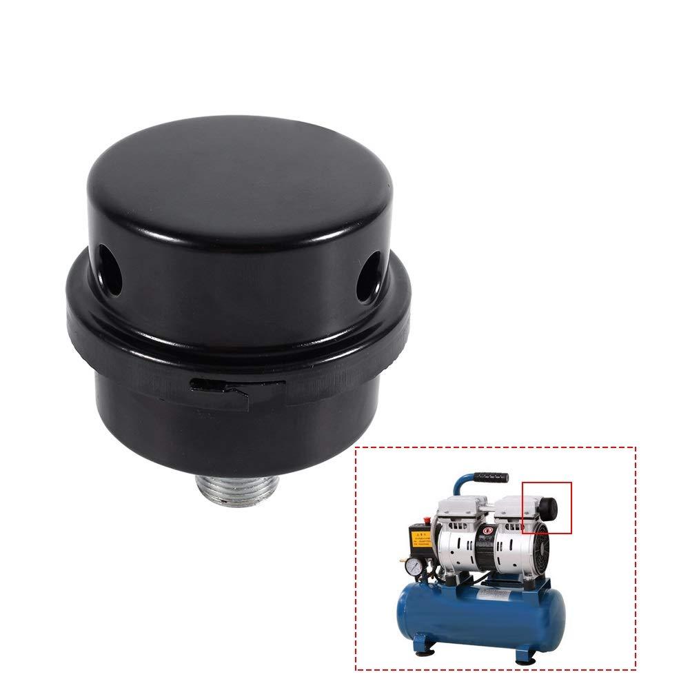 Air Compressor Muffler 2Pcs Black Metal Air Compressor Intake Filter Muffler Silencer Thread 3//8 16MM