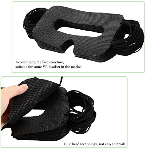 BBTO 150 Pack Disposable Mask Non-Woven Sanitary Eye Mask White Eye Mask Cover Compatible with VR Headset H-T-C Vive Virtual Reality Headset(Black 519 2BS3UH 2BbL