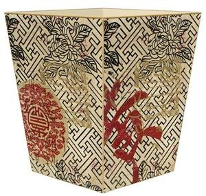Kelly Trash Can Garbage Can Bin Wastebasket Bathroom Decor Wooden Decorative Red Asian Design