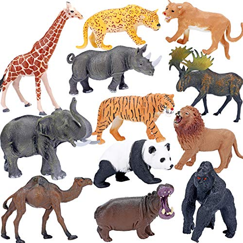 (Safari Animals Figures Toys, Realistic Jumbo Wild Zoo Animals Figurines Large Plastic African Jungle Animals Playset with Elephant, Giraffe, Lion, Tiger, Gorilla for Kids Toddlers, 12 Piece Gift Set)