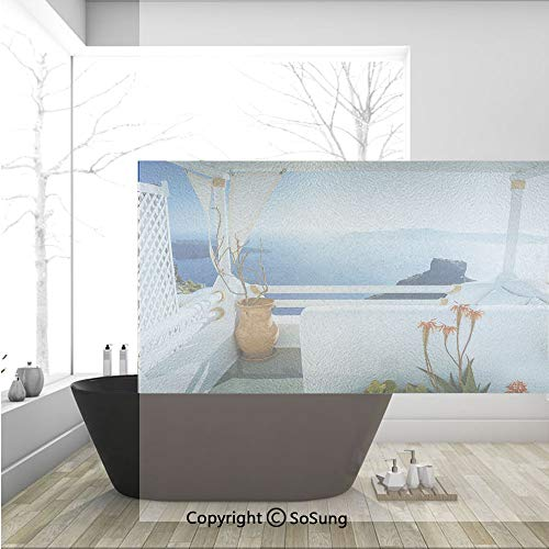 Santorini Aluminum Glass - 3D Decorative Privacy Window Films,Holiday Terrace with Sea at Sunset Architecture on Santorini Island Greece,No-Glue Self Static Cling Glass Film for Home Bedroom Bathroom Kitchen Office 36x24 Inch