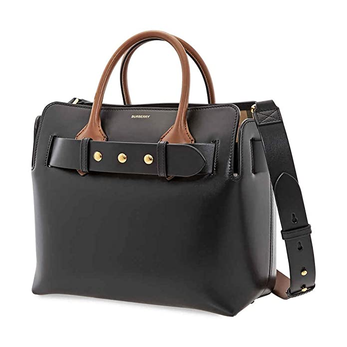 Burberry triple-stud belted tote crafted in 100% calf leather with 100% cotton lining and polished metal hardware