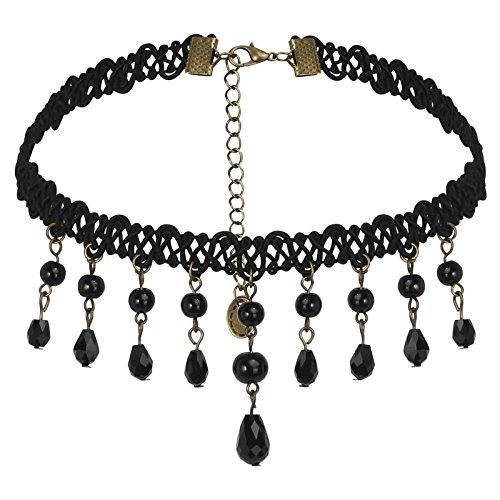 Choker Necklace for Women Leather Stainless Steel Handmade Resin Choker Bib Blacks 33.7+8.3CM (Handmade Studded Bib)