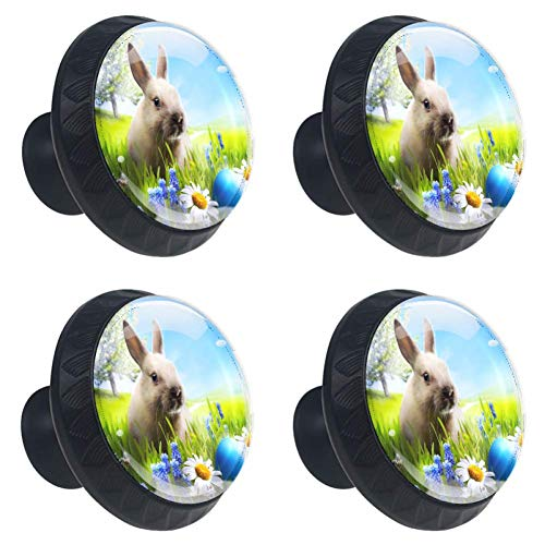 Idealiy Bunny Happy Easter Drawer Knob Pull Handle Cupboard Knobs with Screws 4pcs