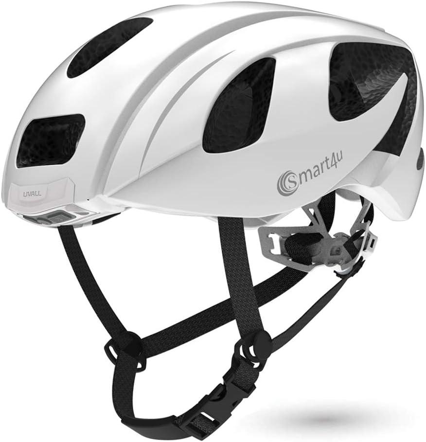 Smart4u Casco Inteligente con luz Trasera LED y Intermitente, Alarma SOS, teléfono Bluetooth con Respuesta de un botón, Casco de Bicicleta cómodo Certificado -SH55M