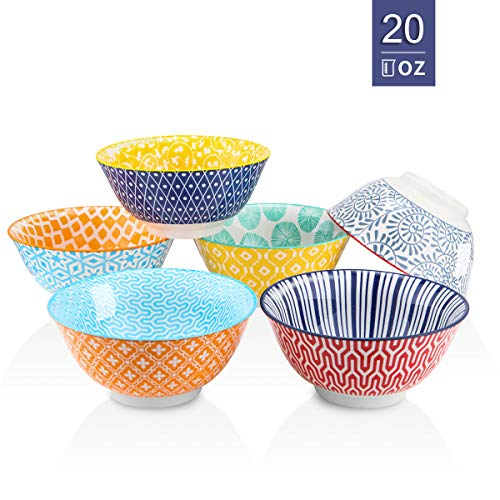 Selamica Porcelain Bowls Set - Set of 6, ceramic bowls for Cereal, Soup, Salad and Pasta, Assorted Designs