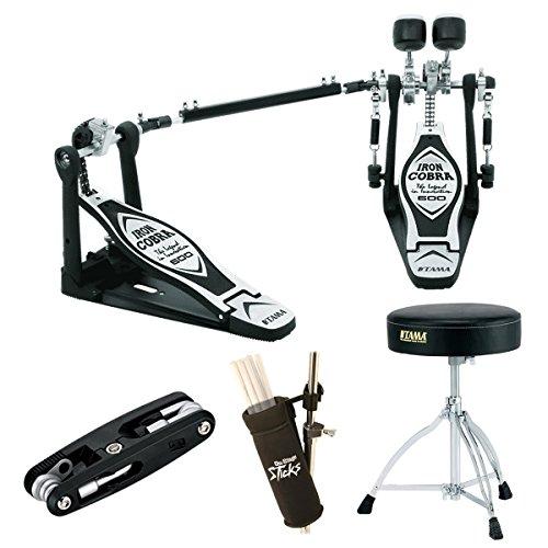 Tama HP600DTW Iron Cobra Double Pedal Deluxe Beginner Bundle, Includes Tama Drum Throne, Multi Drum Tool, Stick Bag and Drum Hammer