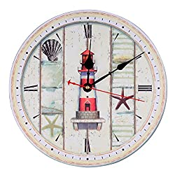 KI Store Wall Clock Decorative Silent Wall Clock Non Ticking Ocean Theme White Wall Clocks 12-Inch for Bedroom Living Room Bathroom Decorations (Lighthouse)