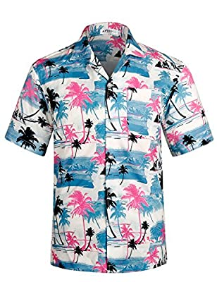 Men's Hawaiian Shirt Short Sleeve Beach Floral Shirt