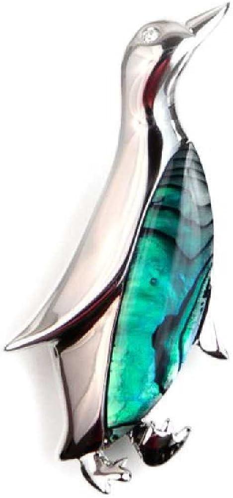Broche pingouin en nacre abalone Bijoux naturels C14 Naturosph/ère