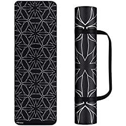 Trideer Yoga Mat, Premium Print 6mm, Non Slip Exercise & Fitness Mat, Lightweight Anti-Tear All-Purpose Floor Pilates Mat,with Carrying Strap for Yoga Class and Outdoor (Obsidian (4mm))