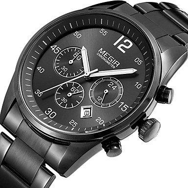 MEGIR Hombre Reloj Deportivo Reloj de Moda Reloj de Pulsera Reloj creativo único Reloj Casual Reloj Madera Cuarzo Calendario Acero , white: Amazon.es: ...