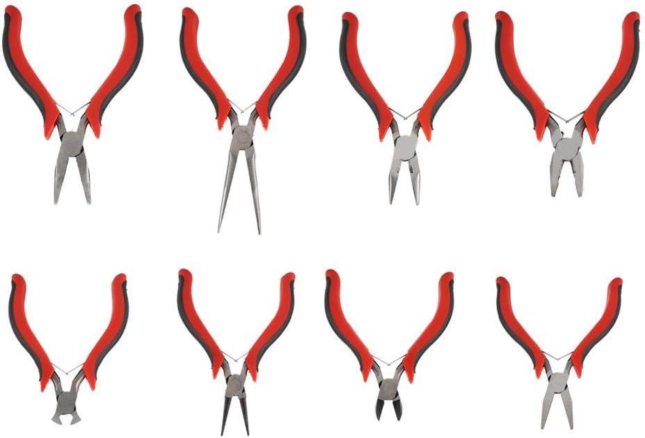 alicates de punta plana 8 pinzas para joyas alicates planos y alicates redondos alicates de puntas redondas mini precisi/ón pinzas herramientas kit cortacables