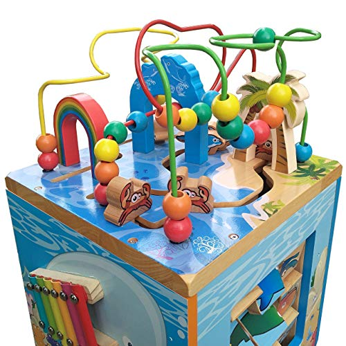 Under The Sea Adventures, Deluxe Activity Wooden Maze Cube - Perfect for Kids Play, Musical Activity, and Toddlers Early Developmental Skills by Pidoko Kids (Image #1)