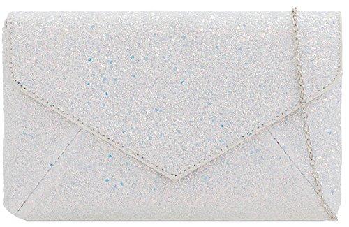 Glitter Evening Bridal Silver Satin Handbag Clutch Ladies Envelope Bag H5Bt6xqw