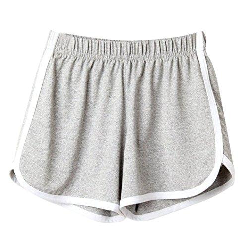 Clearance! Women Shorts JJLOVER Solid Running Yoga Sport Hot Shorts Elastic Waist Summer Casual Fashion Short Pants (Gray, XL)