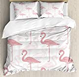 ALAGO Flamingo Beddings Twin, Sting Flamingos Pattern Holiday Jungle Hawaii Wildlife Illustration, 4 Pieces Duvet Cover Set Decorative Bedspread for Childrens/Kids/Teens/Adults, Pale Pink White