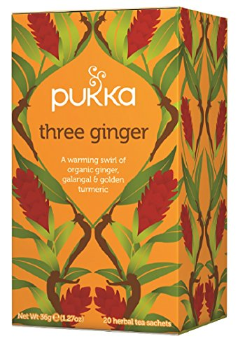 Pukka Herbal Teas Three Ginger Caffeine Free, 20 Count Organic Golden Ginger Tea
