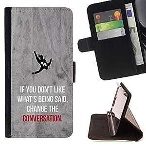 BullDog Case - FOR/Samsung Galaxy A3 / - / change the conversation inspiring quote /- Monedero de cuero de la PU Llevar cubierta de la caja con el ID Credit Card Slots Flip funda de cuer