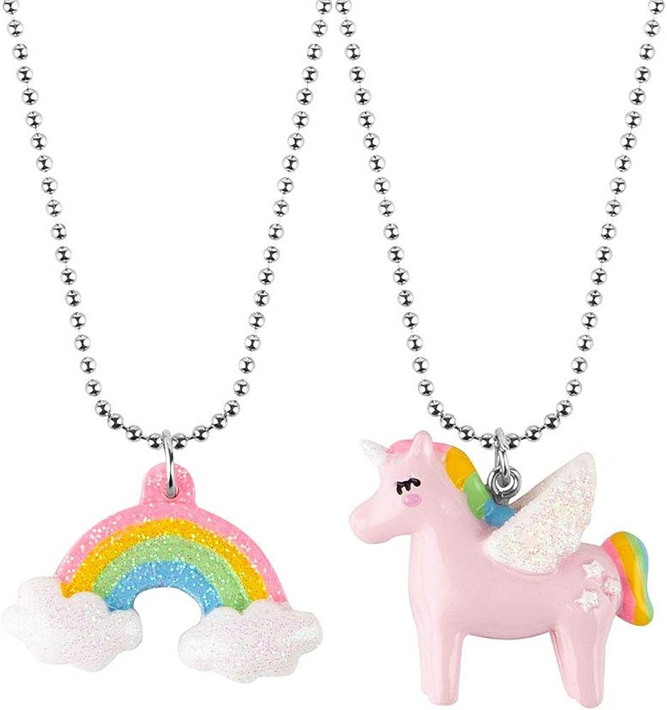 Lot de 2 colliers avec pendentif licorne arc-en-ciel pour fille