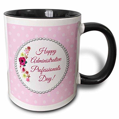 3D Rose 244094_4 Roses, Pink, Red, Pearl Look Frame, Dots, Administrative Assistant Two Tone Ceramic Mug - Frame Ceramic Dot