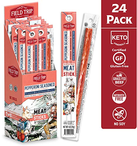 Field Trip Pork & Beef Jerky Sticks   Keto Gluten Free Jerky, Low Carb, Healthy High Protein Snacks With No Nitrates, Made With All Natural Ingredients   Pepperoni   1oz, 24Count