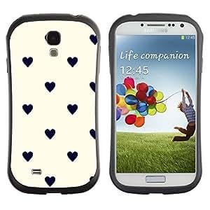 "Hypernova Slim Fit Dual Barniz Protector Caso Case Funda Para SAMSUNG Galaxy S4 IV / i9500 / i9515 / i9505G / SGH-i337 [Modelo de punto Corazón Negro Beige""]"