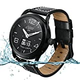 MIBLUE Hybrid Smartwatch Waterproof Fossil Smartwatch for Man and Women Heart Rates, Blood Pressure Monitor, Calorie Distance Counter Pedometer, Event Vibrates Reminder Function (Leather Strap)