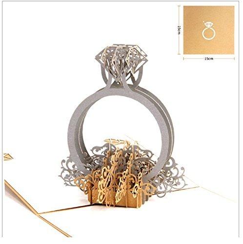 Tarjeta pop-up 3D - popup Artesanía de papel hecho a mano de origami papel arte 3D popup anillo de compromiso Tarjeta de boda de San Valentín día propuesta ...