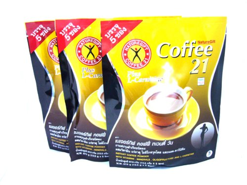 3x Naturegift Instant Coffee Mix 21 Plus L-carnitine Slimming Weight Loss Diet Made in Thailand by Chom