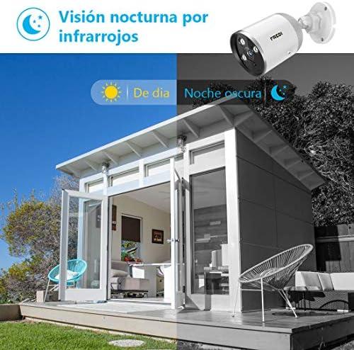 FREDI Cámara de vigilancia para Exteriores, 1080P HD inalámbrica Seguridad Bullet cámara/Impermeable IP66, Visión Nocturna, Detección de Movimiento/Cámara con Audio bidireccional: Amazon.es: Electrónica