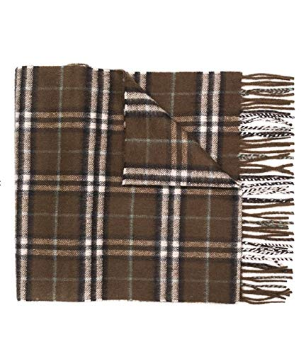 Burberry Vintage Check Men's Womens Cashmere Classic Scarf Miliary Brown
