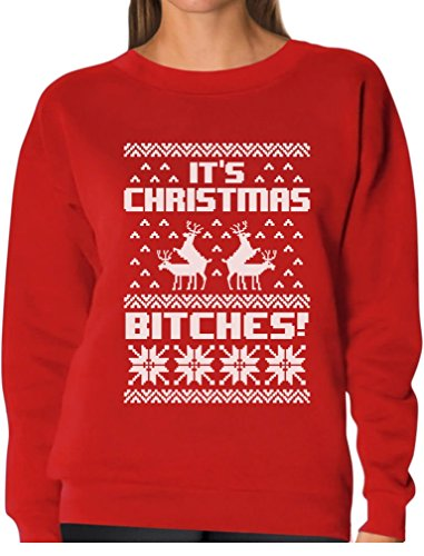 It's Christmas Bitches Ugly Sweater Humping Reindeer Funny Women Sweatshirt Medium Red