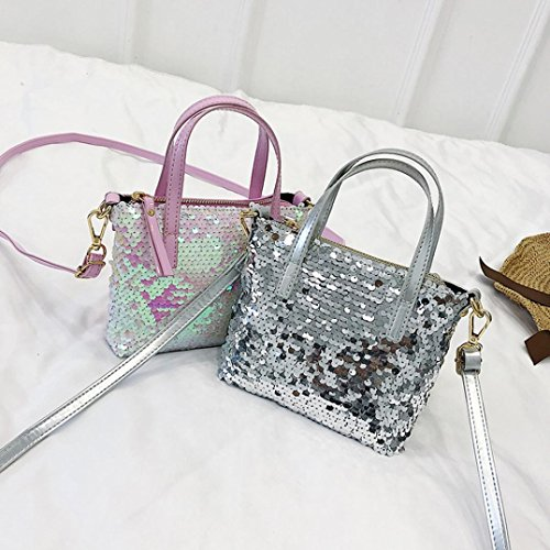 Crossbody Janly Color Bags Girls Bag Silver Handbags Small Sequins Tote Shoulder Glitter Hit Sparkling Silver Bag tSqr7S