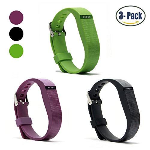 Hotodeal Replacement Bands for Fitbit Flex, Fashion Adjustable Silicone Sport Wristband with Chrome Clasp and Fastener Buckle, Prevent Tracker Falling Off, Comfortable, Pack of 3 (Black+Purple+Green) (05 Slate Green)