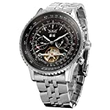 Forsining Men's Self winding Automatic Tourbillon Calendar Watch with Link Bracelet JAG034M4S2