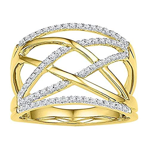Roy Rose Jewelry 10K Yellow Gold Ladies Diamond Criss Cross Crossover Cocktail Ring 1/3 Carat tw ~ Size 7