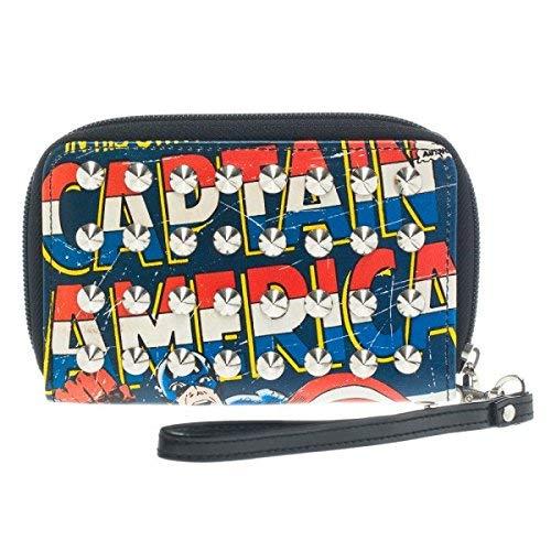 Wallet - Marvel - Captain America Studded Zip Around New Licensed gw13axmvl   B00NVRX5FG