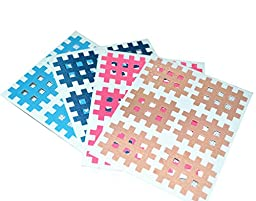 Macure Spiral Cross Kinesiology Tape for Therapy 3mm X 4mm 6pcs/sheet (Pack of 20 sheets) (Multicolour)