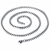 JRUI Jewelry Mens Womens Stainless Steel Rolo Cable Wheat Chain Link Necklace 16-30 Inch