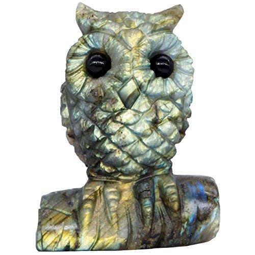 NATURSTON Handmade Carving Owl Statue Natural Labradorite Crystal Gemstone Artwork Figurine (Gold:2.0''-2.4'') (Carving Gemstone Animal)