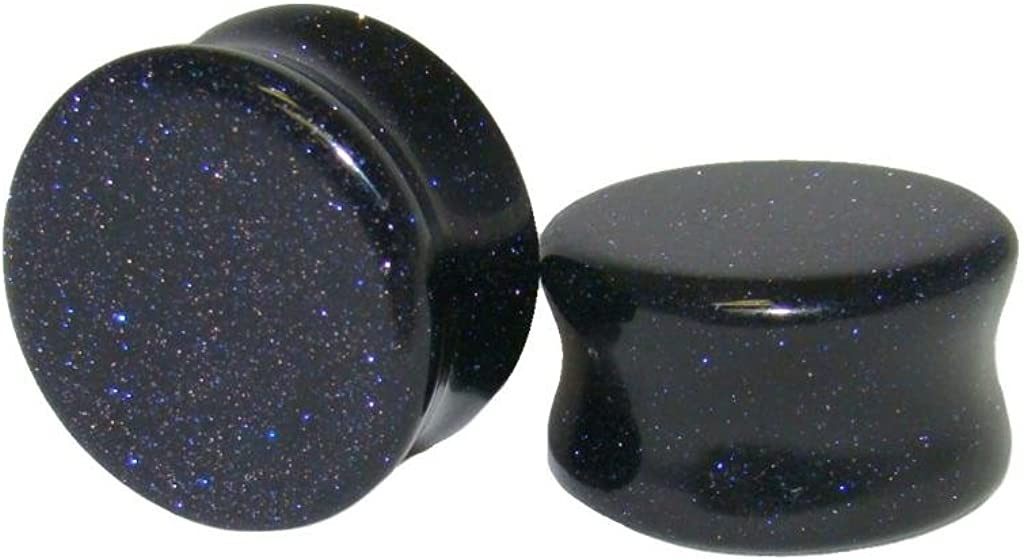 up to 38mm available PAIR Blue Midnight Goldstone Stone Plugs Sandstone Gauges