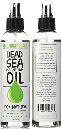 Magnesium Oil Spray 100% Pure From the Dead Sea - Large 8 oz Bottle LASTS SIX MONTHS - Made in USA - Exceptional #1 Therapeutic Source For Magnesium Chloride